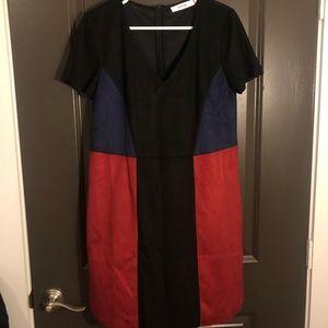 JUSTFAB- Suede multi color dress, RED, NAVY, BLACK